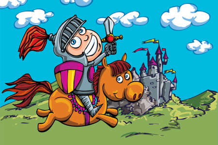 �back ground�: Cute cartoon knight on a horse. A castle in the back ground