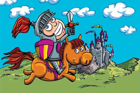 cartoon knight: Cute cartoon knight on a horse. A castle in the back ground