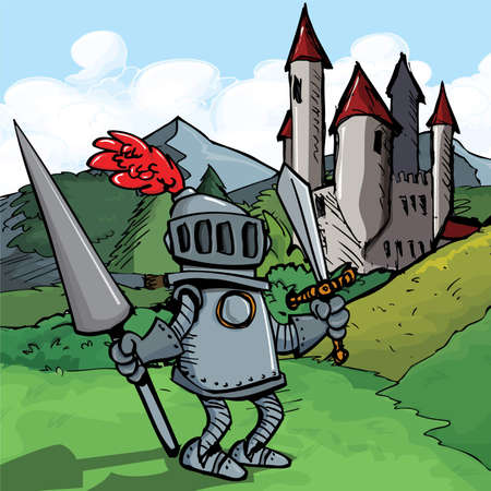 Cartoon knight in armour with a spear. He is in a fiels in front of a castle Vector