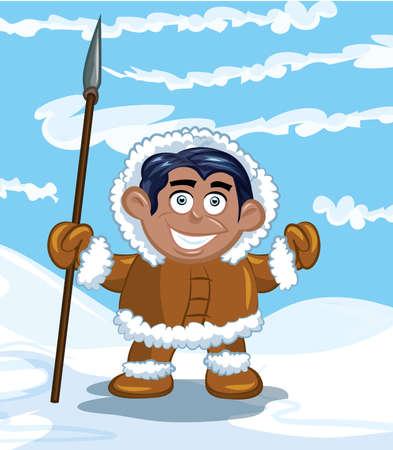 esquimal: Esquimal de dibujos animados con una lanza y un pez. Cielo azul y nieve detr�s