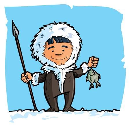 eskimo: Cartoon eskimo with a spear and a fish. Blue sky and snow behind