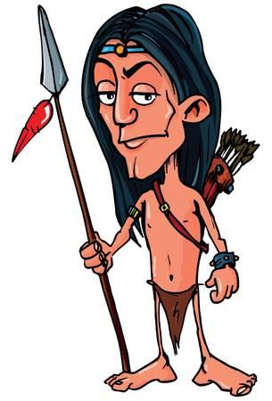 Cartoon indien avec une lance. Isolé sur fond blanc