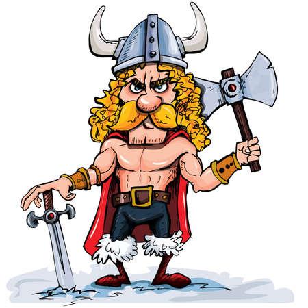 vikingo: Viking de dibujos animados con un hacha grande. Aislados en blanco Vectores