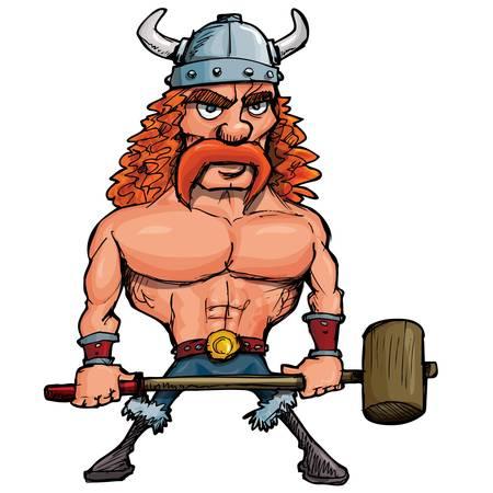 Viking de dibujos animados con un martillo grande. Aislados en blanco