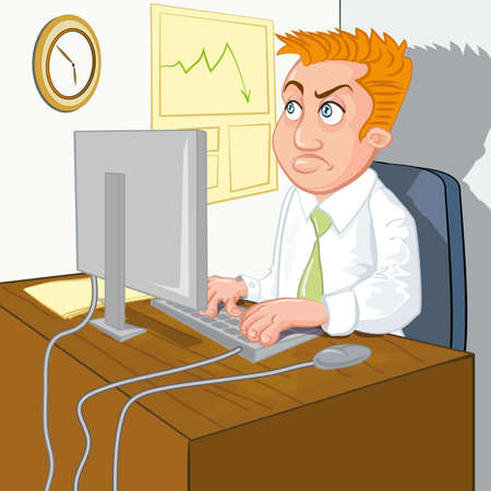 Cartoon of a man waiting for home time. He stares at the clock on the wall Vector