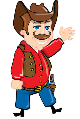 Cartoon cowboy with a gun belt. Isolated on white Stock Vector - 9312309