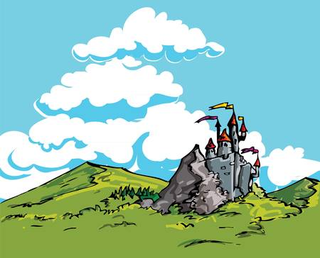 Castle in the country. Green scenery and blue skies Vector