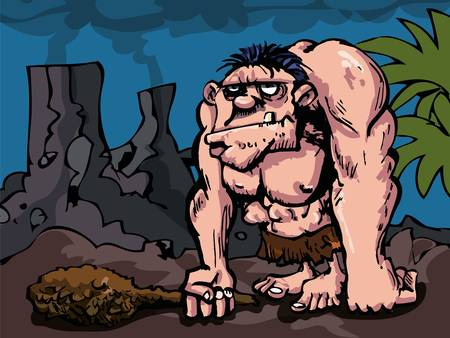 caveman cartoon: Cavman with big club in prehistoric setting. Volcanoes in the distance