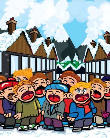 Cartoon carole singers in a snowy town