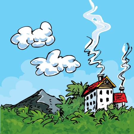 skys: House in the country. Blue skys and green grass Illustration