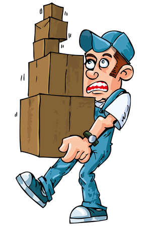 Cartoon of worker carrying boxes isolated on white Stock Vector - 9312306