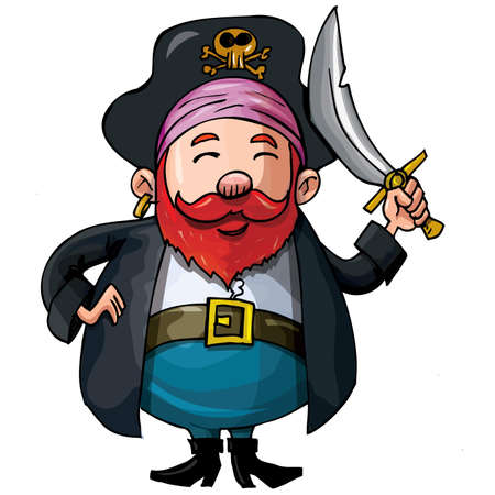 Cartoon pirate with a sword isolated on white 矢量图片