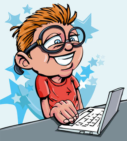 Cartoon of boy working on a laptop. Design back ground Vector