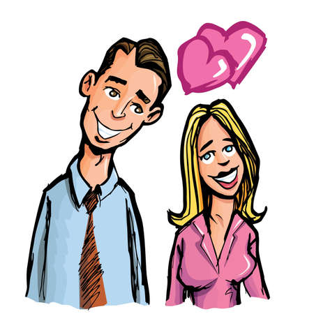 Cartoon couple in love. Isolaed on white