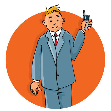 Cartoon office worker on the phone. He is smiling Vector