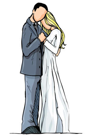 Cartoon couple in love. Isolated on white Vector