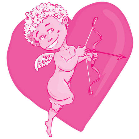 Cartoon cupid with bow and wings.Pink hart