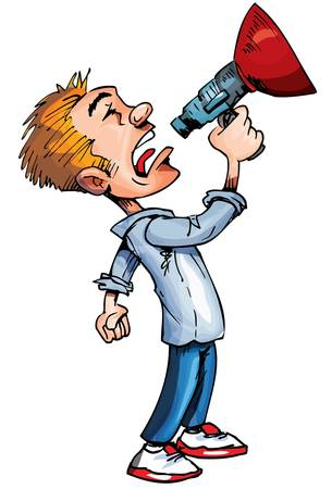 Cartoon of man with a megaphone. Isolated on white Vector