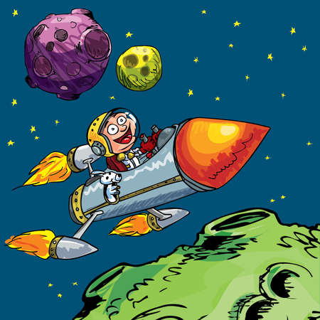 space: Cartoon of little boy in a rocket flying through space