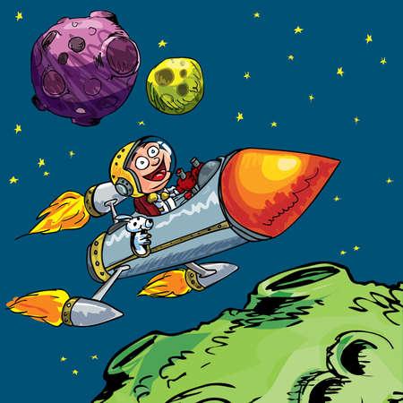 espaço: Cartoon of little boy in a rocket flying through space