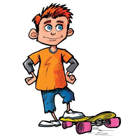 boy skater: Cartoon of skater boy isolated on white