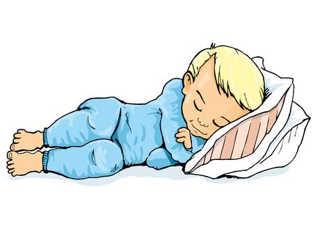infants: Cartoon of little boy sleeping on a pillow. Isolated on white Illustration