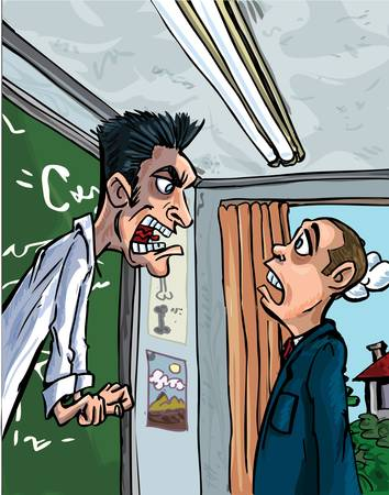 Cartoon of teacher screaming at a pupil. Classroom behind Vector