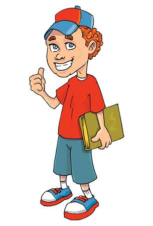Cartoon of a boy holding a book. Isolated on white Stock Vector - 9342514