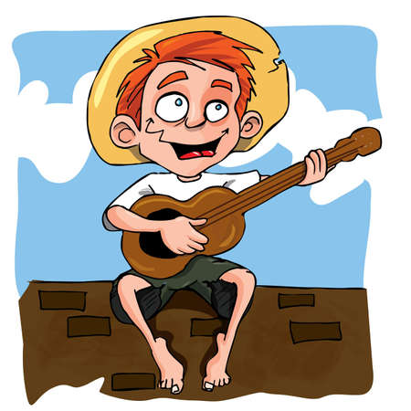 Caricatura de ni�o tocando la guitarra en un wll Foto de archivo - 9342521