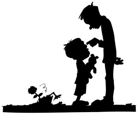 Cartoon of Dad scolding his son. Sillhoette Vector