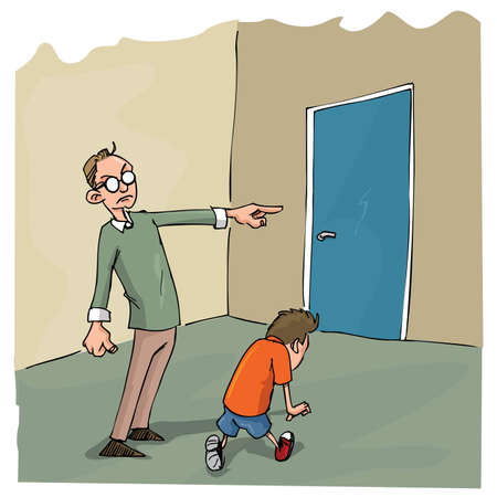 guilt: Cartoon of Dad scolding his son and sending him out of the room Illustration