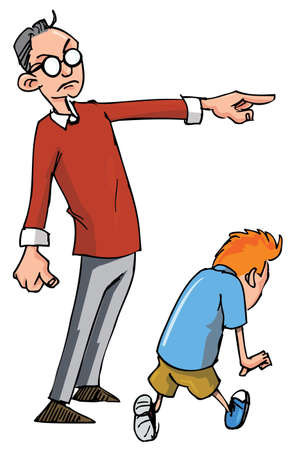 kid pointing: Cartoon of Dad scolding his son and sending him away Illustration