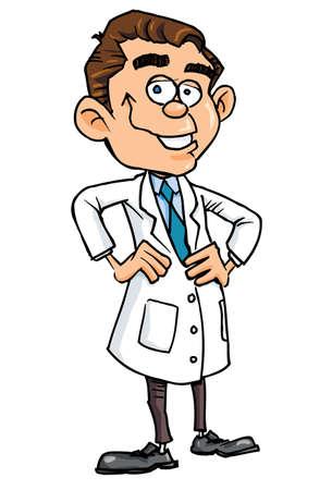 medico caricatura: M�dico de dibujos animados en bata blanca. Aislados en blanco Vectores