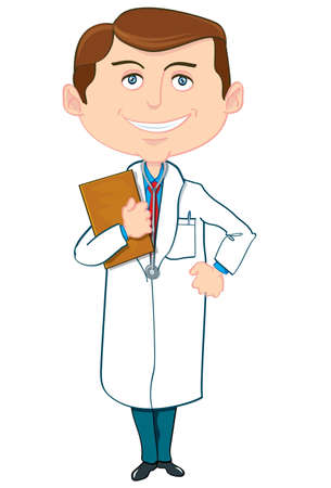Cartoon doctor in white coat. Isolated on white Stock Vector - 9342508