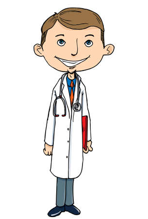Cartoon doctor in white coat. Isolated on white Stock Vector - 9342498