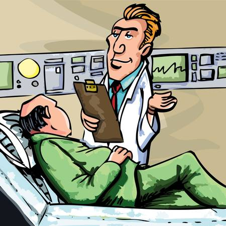 physicians: Cartoon doctor in white coat attending a patient Illustration
