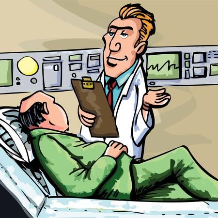Cartoon doctor in white coat attending a patient Stock Vector - 9342517