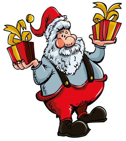Cartoon Santa with a white beard.Isolated on white Stock Vector - 9357130