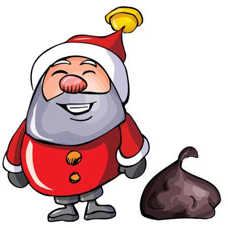 Cartoon Santa with a white beard.Isolated on white Vector