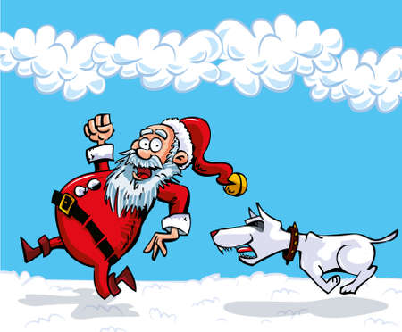 Cartoon Santa with a white beard. Running from a dog