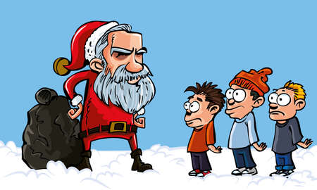 Mean Cartoon Santa with a white beard scolding naughty kids Vector
