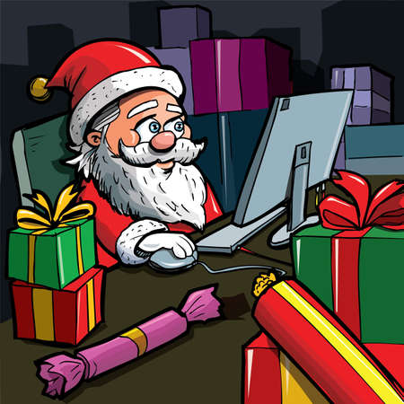 Cartoon Santa with a white beard. Using a computer Stock Vector - 9357129