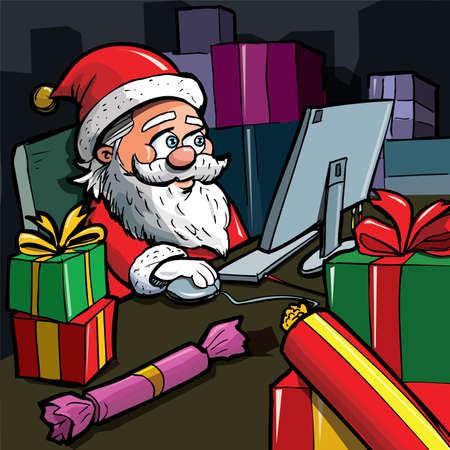 Cartoon Santa with a white beard. Using a computer Vector