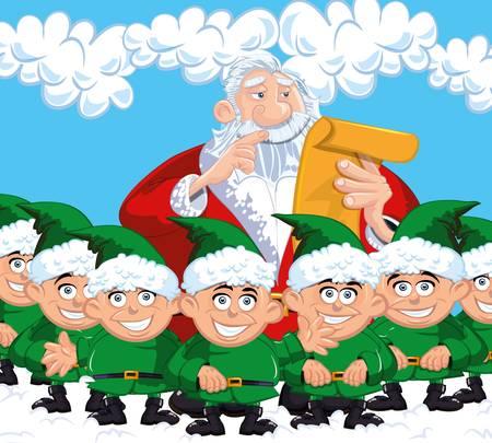 Cartoon Santa with a white beard. Surrounded by elves Vector