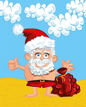 Cartoon Santa with a white beard. On a beach in swimming trunks Vector