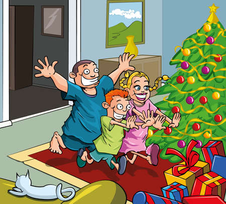 Cartoon kids running toward christmas tree. Presents all around Stock Vector - 9362113