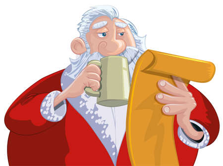 Cartoon Santa with a white beard. Reading his list Vector