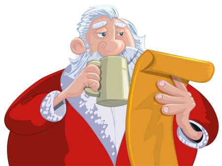 Cartoon Santa with a white beard. Reading his list Vector
