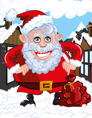 Cartoon Santa with a white beard. He is a in a town street Stock Vector - 9362114