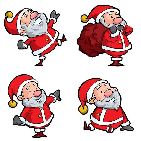 Set of Cartoon Santa. Isolated on white